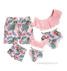 IFFEI Family Matching Swimwear Ruffle Two Pieces Bikini Set Tropical Leaf Printed Mommy and Me Bathing Suit Beach Wear