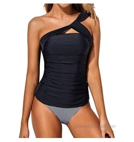 Tempt Me Women Tankini Ruched One Shoulder Tummy Control Top with Shorts Two Piece Swimsuits