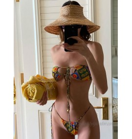 Two Piece Swimsuits For Women Printed Strapless Sexy Bikini