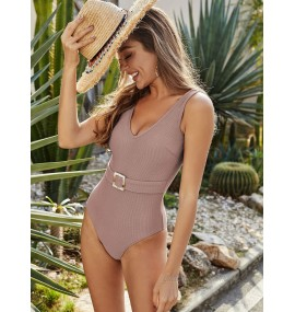 One Piece Swimsuits For Women Blue Gray Metal Details V-Neck Open Shoulder Raised Waist Summer Beach Bathing Suits