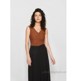 Agolde WILLA RUCHED SLEEVELESS BODYSUIT Body caramel/brown/brown