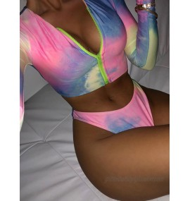 Women Two Piece Swimsuits Rose Others Printed Zipper Embellished Collar Irregular Raised Waist Summer Beach Swimming Suits