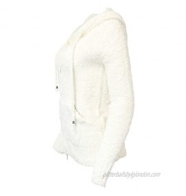 POL Clothing Women's Ultimate Soft and Fuzzy Lounge Wear Zippered Hoodie