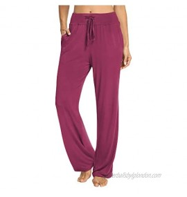 PACBREEZE Women's Loose Yoga Pajama Pants Wide Straight-Leg Casual Workout Running Sporting Active Pants with Pockets
