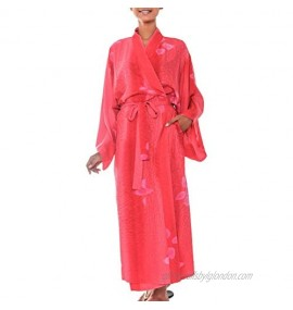NOVICA Red Women's Batik Robe 'Kissed by Crimson' (One Size Fits Most)