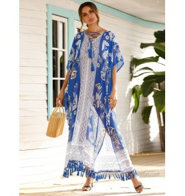 Cover Ups For Women Blue Geometric Fringe V-Neck Half Sleeves Layered Polyester Summer Beach Swimming Suits