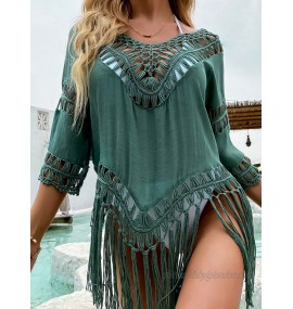 Women Cover Ups Green Cut Out Jewel Neck Half Sleeves Asymmetrical Polyester Summer Sexy Swimming Suits