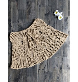 Women Cover Ups Khaki Crochet Jewel Neck Stretch Polyester Summer Sexy Bathing Suits