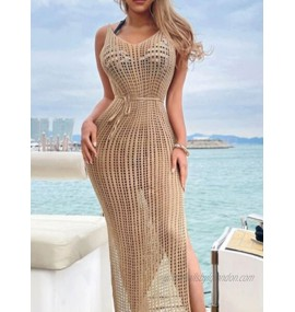 Women Cover Ups Khaki Straps Neck Sleeveless Backless Polyester Summer Sexy Swimming Suits